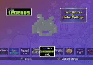 O menu inicial poderia ser um pouco mais trabalhado, assim como o resumo da história da Taito aqui disponível