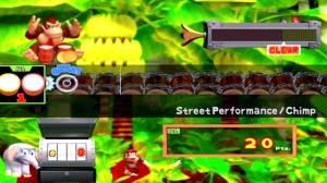 Donkey Konga é um jogo rítmico onde temos de seguir os símbolos que nos aparecem no ecrã e acompanhando a percursão das músicas