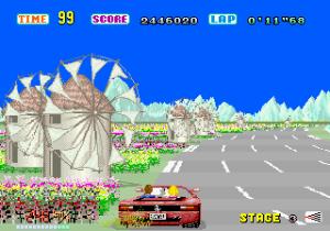 A versão Mega Drive do OutRun é bem competente, mas ainda longe da que temos aqui.