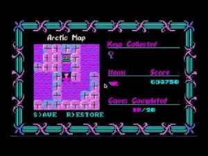 Este é o ecrã do overworld, que nos indica o número de níveis já concluidos no capítulo em questão, bem como quantos objectos especiais como chaves ou barco temos na nossa posse