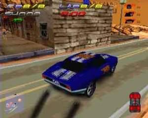 Apesar de não ser dos jogos de corrida mais bonitos da PS1, o que borra aqui a pintura são os glitches como clipping e a draw distance curta