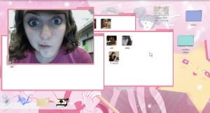 Este é o desktop de Nina. Como é que alguém gosta de tanto cor-de-rosa assim é para lá da minha compreensão