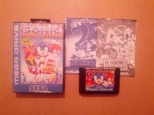 Jogo com caixa e manuais, embora falte o manual do primeiro Sonic