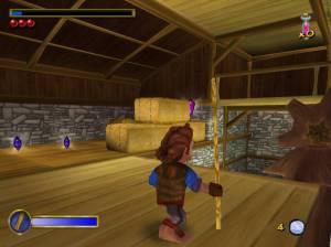 O bastão pode também ser usado como vara e assim conseguir saltar mais longe.