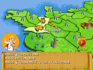 Screenshot da versão windows. Os territórios a conquistar estão representados por tendas de acampamentos romanos e as forças estão nos números