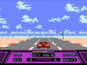 Rad Racer é bastante colorido e tal como Out Run, as estradas não são planas