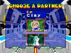 Inicialmente começamos por escolher qual a dupla de bomberman + animal queremos jogar. Posteriormente poderemos comprar outros animais
