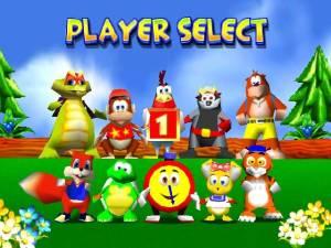 O elenco de personagens seleccionáveis não é tão cativante quanto no Mario Kart 64 mas não deixa de ser interessante ver ali o Conker
